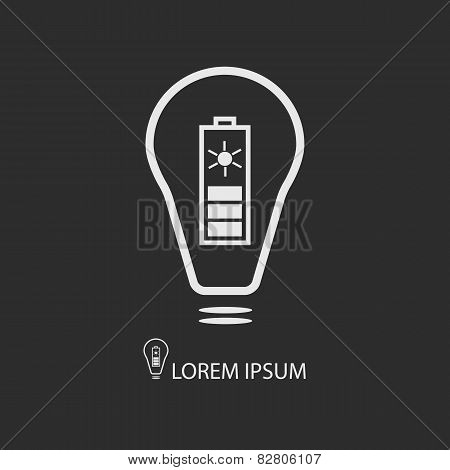 White Bulb With Solar Battery On Dark Grey Background