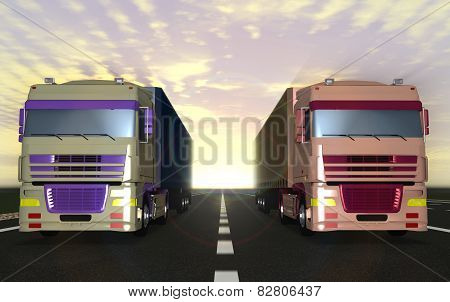 Two Trucks Carrying Cargo On The Highway.