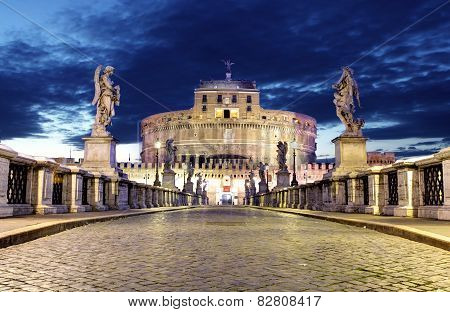 Castle of Angelo From Bridge, Rome.
