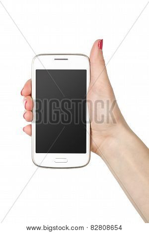 Phone in hand girl. White screen smartphone isolated on white background.