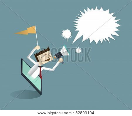 Tablet And Businessman With Megaphone