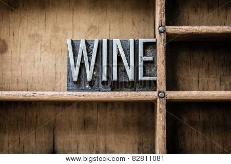 Wine Letterpress Type In Drawer