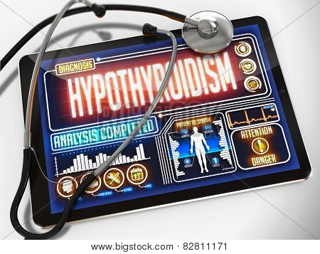 Hypothyroidism on the Display of Medical Tablet.