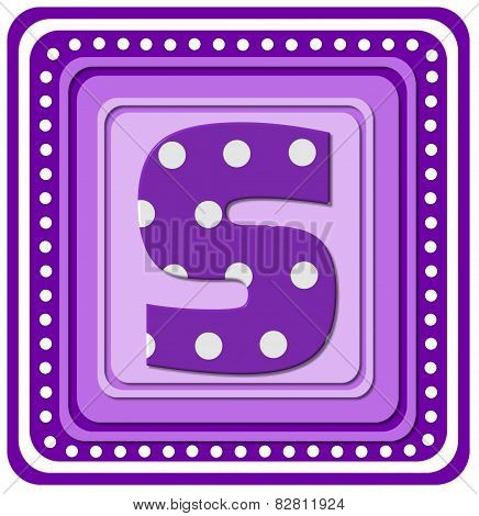 Alphabet Purple Square S