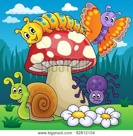 Toadstool with animals on meadow - eps10 vector illustration.