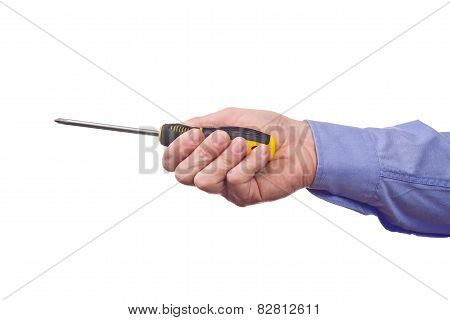 Male Worker's Hand Holding Screwdriver