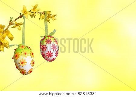 Light Yellow Background, Branch With Group Of Easter Eggs