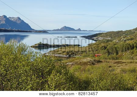 View to fjord in Norway, Lofoten