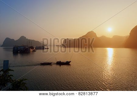 Ha Long Bay Silhouettes Of Rocks And Ships Vietnam