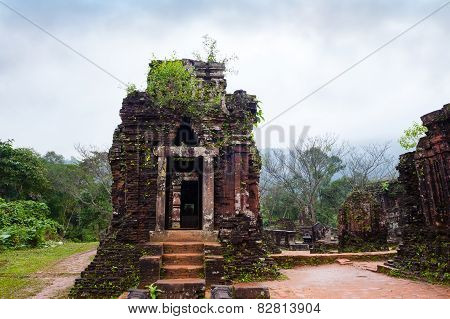 My Son Temples In Cloudy Weather Vietnam
