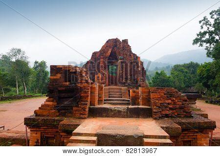 Myson Temple Red Bricks In Cloudy Weather Vietnam