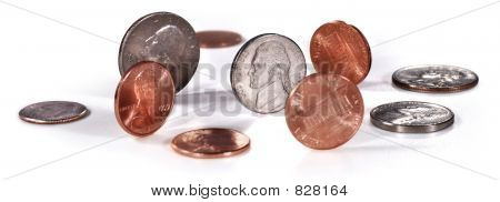 US coins on white