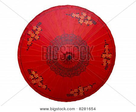 Red umbrella with flower pattern