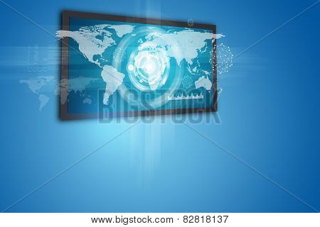 Touchscreen display with world map and circles