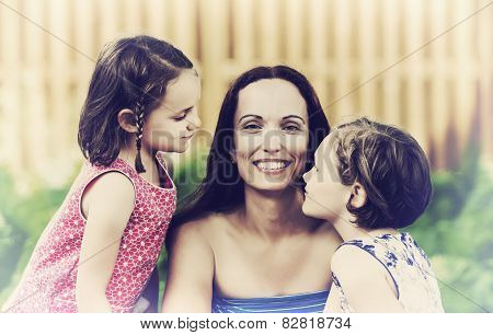 Close Up Of A Mother And Her Daughters - Retro
