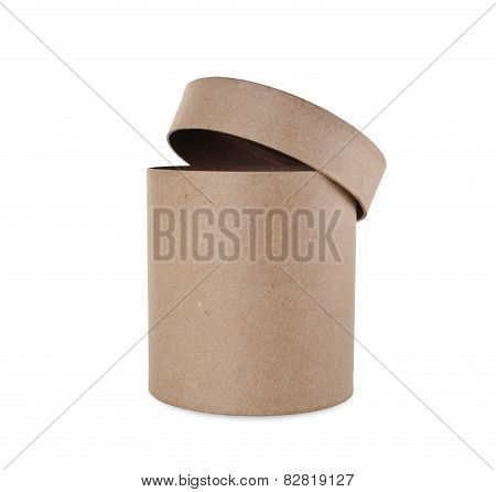 Round Box With A Lid On A White Background