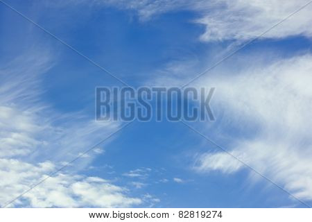 White Stratospheric Clouds On Blue Sky
