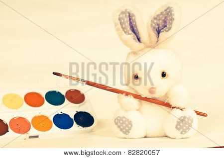 Toy Rabbit With Paints