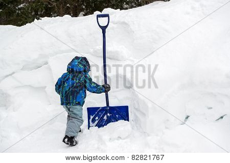 Boy Grabbing A Snow Shovel In A Deep Snowbank