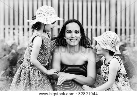 Mother Together With Her Daughters - Black And White