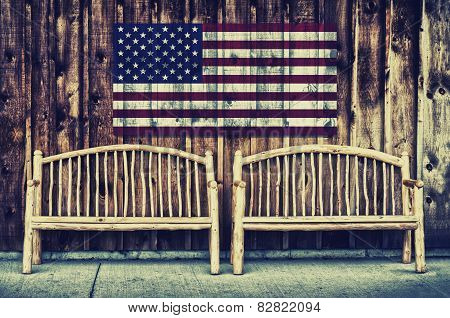 Rustic Log Benches With Usa Flag - Retro