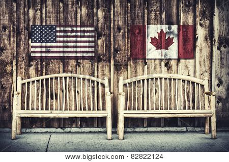 Rustic Log Benches With Usa And Canada Flag