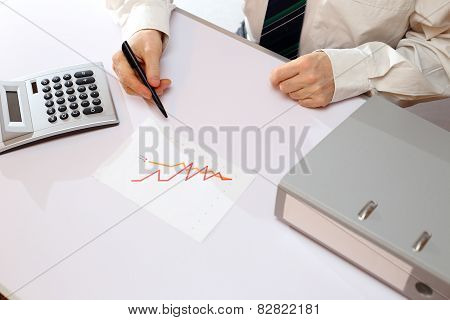 Man Is Working On Graph