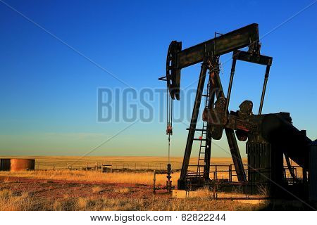 Oil Pumpjack in Field