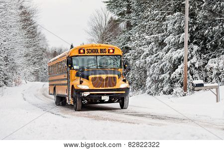 School Bus Driving Down A Snow Covered Rural Road - 3