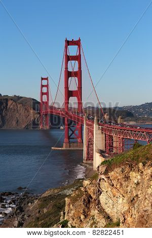 View on Golden Gate bridge in evening light