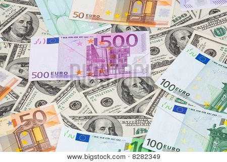 Dollars And Euro Banknote
