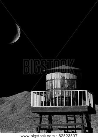 Wood Water Tank And Moon
