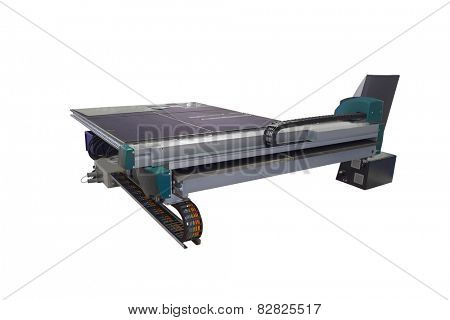 Machine for cutting monolithic glass isolated under the white background
