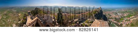 360 Degree Panorama (diorama) View City And Towers In San Marino Republic