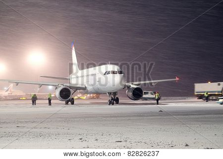 Moscow, Russia, February, 09,2015: plane parked at the airport in winter