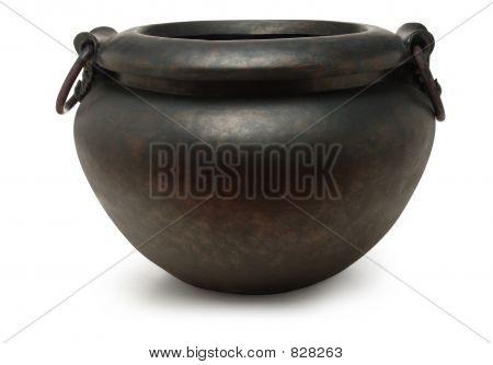 iron cauldron on white