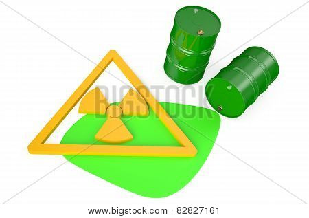 Green Barrels With Radioactive Waste
