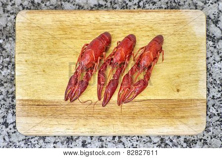 Red River Crayfish On Cutting Board