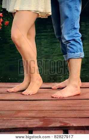 Boyfriend Anf Girlfrien Feet, Standing No Shoes On The Pierce