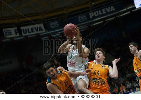 VALENCIA, SPAIN - FEBRUARY 11: Randolph with ball during Eurocup match between Valencia Basket Club and Lokomotiv Kuban Krasnodar at Fonteta Stadium on February 11, 2014 in Valencia, Spain