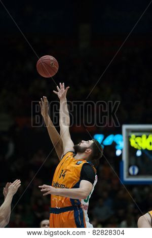 VALENCIA, SPAIN - FEBRUARY 11: Dubljevic during Eurocup match between Valencia Basket Club and Lokomotiv Kuban Krasnodar at Fonteta Stadium on February 11, 2014 in Valencia, Spain