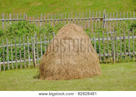 haystack and fence in Sinjajevina mountain, Montenegro