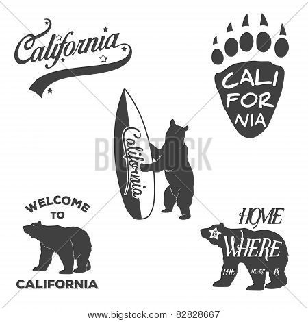 Vintage Monochrome California Badges And Design Elements For T Shirt Print. Typography Illustrations