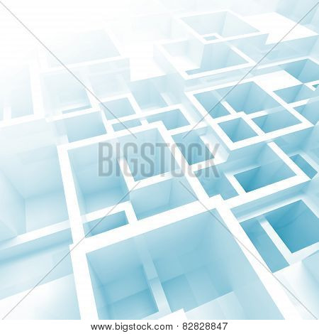 3D Interior With White And Blue Chaotic Square Cells
