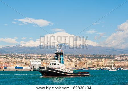 Boat At The Harbor Of Catania