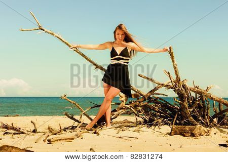 Seductive Woman Outdoor On Beach.