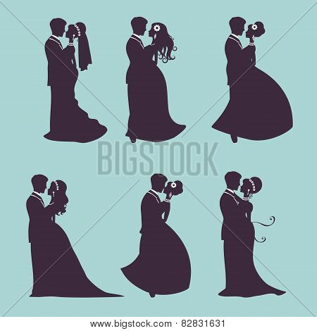 Elegant wedding couples in silhouette