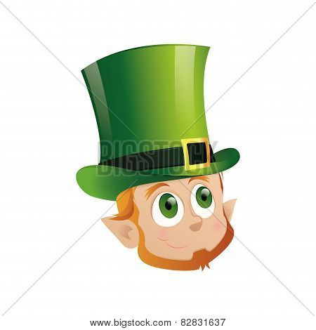 head of a leprechaun with a traditional top hat for st. patrick's day