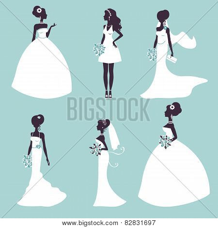 Set of elegant brides in silhouette