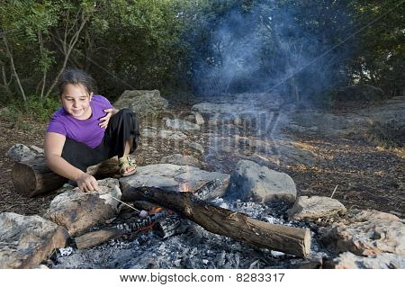 Girl  And Campfire